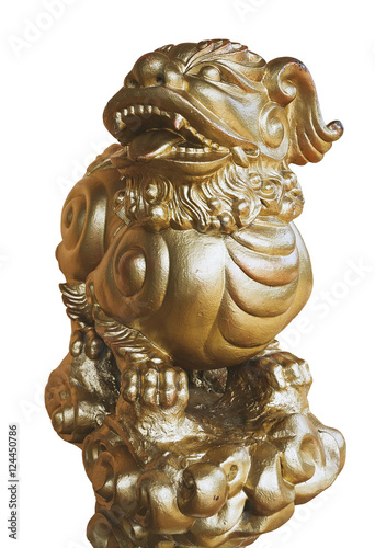 Isolated Golden lion sculpture, dragon. Poster