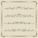 Calligraphic design vector elements, curves and spirals.
