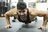 Man training push up exercises