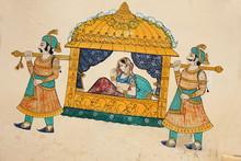 Traditionelle alte Wandmalerei der indischen Frau, die genommen