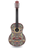 Guitar decorated with ethnic ornaments, design in the style of boho, oriental pattern. Painted colorful creative musical instrument