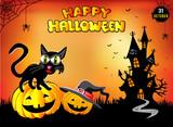 Счастливый Хэллоуин, смешной кот сидит на тыкве, иллюстрация, плакат, оранжевый фон.