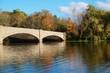 Fall foliage over the Washington Bridge on Lake Carnegie in Princeton, New Jersey