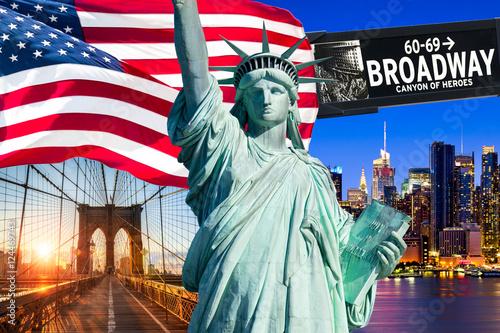 Foto op Plexiglas New York TAXI New York City Collage mit Freiheitsstatue
