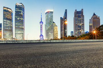 Asphalt roads and the beautiful urban scenery at night in Shanghai,China