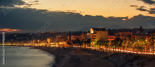 Tuinposter Nice Nice, France: night view of old town, Promenade des Anglais