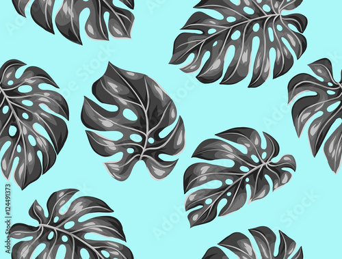Cotton fabric Seamless pattern with monstera leaves. Decorative image of tropical foliage
