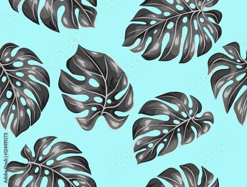 Materiał do szycia Wzór z monstera liści. Dekoracyjny obraz tropikalny liści