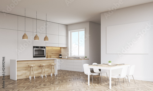 Side view of kitchen with oven and window - 124492966