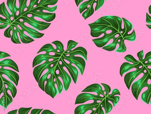 Materiał do szycia Seamless pattern with monstera leaves. Decorative image of tropical foliage