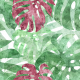 seamless repeatable monstera leaf background - 124503126