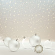 Vector Illustration of an Abstract Christmas Greeting Card with Sparkling Stars, Snow and Baubles