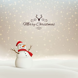 Vector Illustration of an Abstract Christmas Greeting Card with Sparkling Stars and a Snowman
