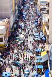 Crowed streets along 25 de Marco in Sao Paulo, Brazil.
