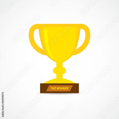 Foto op Canvas Gold trophy cup icon. Vector illustration.