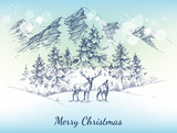 Christmas card. Winter landscape, mountains, pine forest and dee