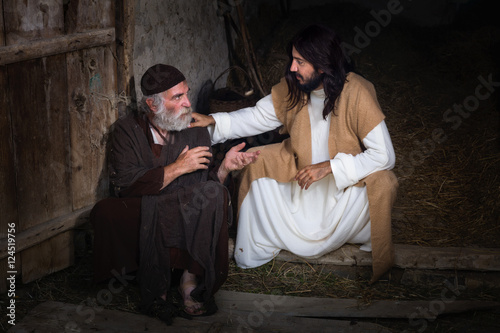 Jesus healing the blind Poster