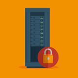 data server security lock icon vector illustration eps 10