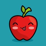 tasty kawaii apple fruit icon vector illustration eps 10