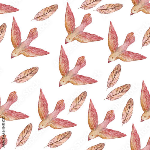 watercolor seamless  pattern with pink birds and feathers isolated on white. Repeating texture. Original background - 124536727