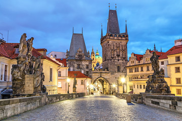Malostranska tower on Charles bridge in Prague