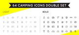 Set of Thin and Bold Vector Hunting Camping Sport Elements