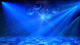 Fototapety Blue disco dance floor with mirror balls, lattice circle and spot lights. 3d render.