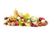Ripe and tasty vegetables isolated on a white