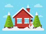 Winter Rural Landscape with Wooden Cottage, Snowman and Pine Tree. Flat Design Style.  - 124548170