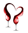 Quadro Red wine heart splash with two wineglasses isolated