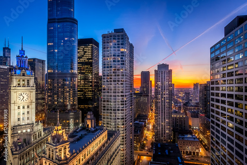 Poster Chicago Chicago city sunset