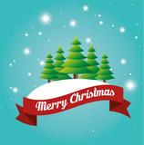 beauty card merry christmas tree snow label design vector illustration eps 10
