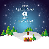greeting merry christmas happy new year house landscape light snow vector illustration