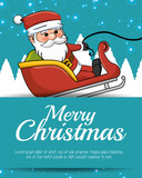 merry christmas card santa sleigh with snow vector illustration eps 10