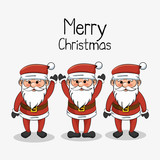 greeting merry christmas set santa claus funny vector illustration eps 10