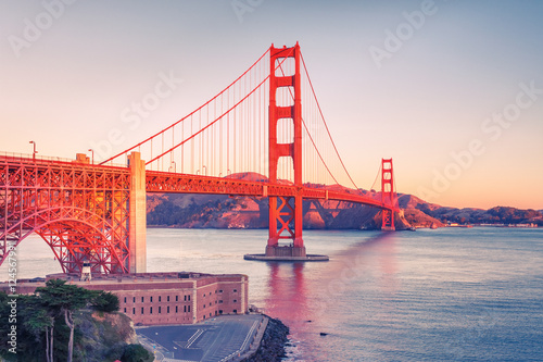 Golden Gate Bridge at sunrise, San Francisco Poster