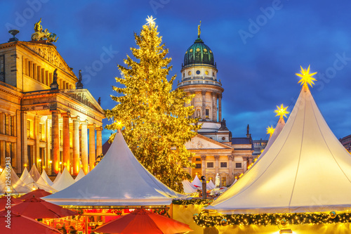 Christmas market, French church and konzerthaus in Berlin, Germany Poster