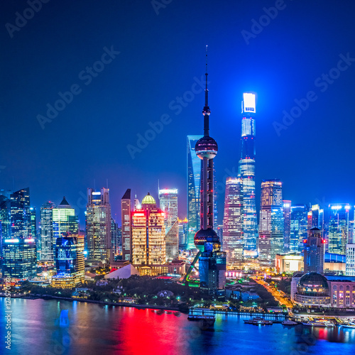 Shanghai Skyline at Night in China. Poster