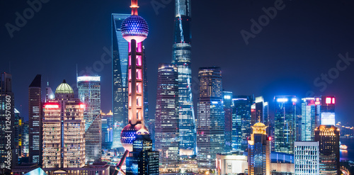 Spoed canvasdoek 2cm dik Shanghai Shanghai Skyline at Night in China.