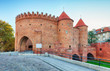 Barbican fortress in the historic center of Warsaw. Poland.