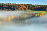 Herbstlandschaft mit Morgennebel und farbenprächtigen Wäldern in voller Herbstfärbung