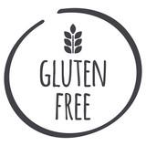 grey Gluten Free circle logo, vector symbol for food - 124584399