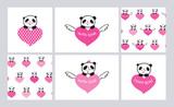 Set of Greeting cards and seamless patterns with cute pandas and hearts. Wrapping paper for Valentines Day, Mothers Day, birthday, wedding. Hand drawn pandas. Doodles, sketch. Vector.