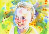 watercolor smiling boy