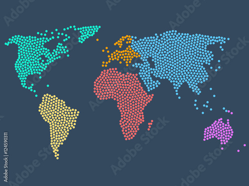 Juliste Dotted world map, stock vector illustration