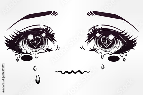 Crying eyes in anime or manga style. - 124595971