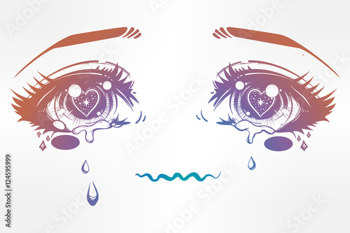 Crying eyes in anime or manga style. - 124595999