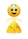 Smiley ball looking at gold bars. Money and wealth.