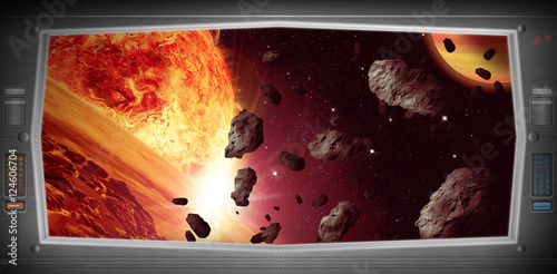 Foto op Aluminium Kosmos Space scene with asteroids from window view