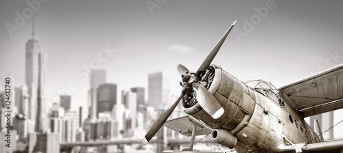 biplane against a skyline